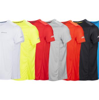 Tee Shirt Babolat Core Flag club  junior girl  rouge fluo
